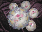 RS Prussia Fruit Bowl w/ 4 matching Berry/Fruit Bowls Pink/Blue Flowers. Nice!!