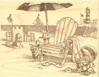 A Day At The Beach Wood Mounted Rubber Stamp IMPRESSION OBSESSION NEW H1743