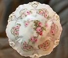 German Roses Bowl, Hand Painted, Sculptured Decoration/Gold Trim 10