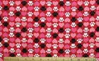 SNUGGLE FLANNEL BLACK  WHITE DOG PAWS  HEARTS on RED 100 Cotton NEW BTY