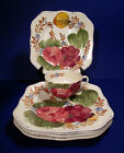 Set of 5 Chanticleer Ware BELLE FIORE Square Luncheon Plates with Cups RARE!!!