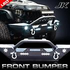 Rock Crawler Front Bumper LED D Ring Winch Plate for Jeep Wrangler JK 2007 16