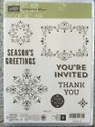 LETTERPRESS WINTER StampinUP NEW clear CLING unmounted set 8 Christmas tags