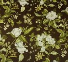 WILLIAMSBURG GARDEN IMAGES FRENCH ROAST BROWN BUTTERFLY FLORAL FABRIC BY YARD