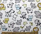 SNUGGLE FLANNEL BABY ANIMALSBLUE  YELLOW on WHITE 100 Cotton Fabric 1 Yd 12