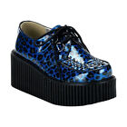 LACE UP CREEPERS 3 PLATFORM GOTH PUNK ROCKABILLY BLUE CHEETAH GLITTER SHOES
