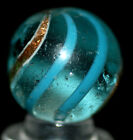 BANDED BLUE AND GOLD LUTZ ANTIQUE GERMAN SWIRL MARBLE   0.786'' INCHES