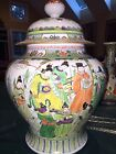 Chinese HUGE 14 Lb  Ginger Jar + Cover Painted Royal Figures Excellent Antique