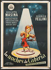 THE NIGHTS OF CABIRIA 1957 Beautiful 1 Sheet L B Federico Fellini filmartgallery