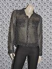Passport Black w Tan Dots Collared ButtonD Long Slv Top Shirt Blouse SMALL USED