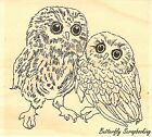 Two Owls Wood Mounted Rubber Stamp IMPRESSION OBSESSION NEW E7760