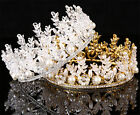 Vintage Pageant Tiara Pearl Full Crown Wedding Crystal Headpiece Hair Jewelry SO