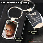 Personalised customised Metal Keyring Photo Printed text Engraving Free Giftbox