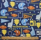 SNUGGLE FLANNEL FOOTBALL GO TEAM on NAVY BLUE 100 Cotton Fabric NEW  BTY