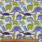 SNUGGLE FLANNEL PURPLE  LIME DINOSAURS on WHITE 100 Cotton Fabric NEW BTY