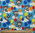 SNUGGLE FLANNEL MONKEYS  BALLOONS on BLUE  100 Cotton Fabric NEW BTY