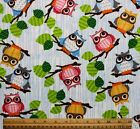 SNUGGLE FLANNEL COLORFULS OWLS on BRANCHES  100 Cotton Fabric NEW BTY