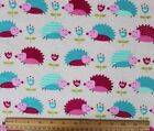 SNUGGLE FLANNEL HOT PINK  TEAL HEDGEHOGS on OFF WHITE 100 Cotton Fabric BTY
