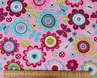 SNUGGLE FLANNEL BUTTON FLOWERS  BUTTERFLIES on PINK 100 Cotton Fabric BTY