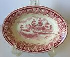 Cranberry Stratford Shakespeare Country Transferware Oval Bowl British Anchor