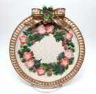 Fitz & Floyd Christmas Wreath Gold Accent Canape Plate Tidbit Tray 9.25