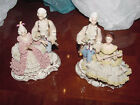 2 - Vintage Dresden Victorian Figurines Lady Man Antique Germany 7 1/2 Tall Lace