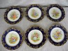 C Limoges 6 Plates W/ Lovers Scene and Raised Gold 8 1/2