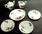 Vintage Child's Toy Tea Set Pieces by Japan in Moss Rose Pattern Gold Trim