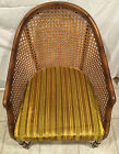 Mid-Century Modern Style Caned Wood Arm Barrel Chair - Great Vintage Piece
