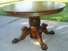 Antique Reproduction Lions Head Pedestal Dining Table