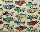 SNUGGLE FLANNEL CLASSIC VINTAGE CARS on PALE YELLOW 100 Cotton Fabric NEW BTY