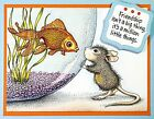 Fishy Kiss HOUSE MOUSE Wood Mounted Rubber Stamp STAMPENDOUS NEW HMR58