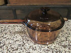 Corning Ware Vision 2.5 L 2-1/2 Qt. Sauce Pan Amber w/ Lid Made in USA