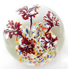 Pretty Controlled Bubble Glass Paperweight Red  White Flowers Multi Color Groun
