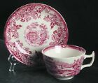 2 RED TONQUIN ALFRED MEAKIN STAFFORDSHIRE ENGLAND TEACUP/ SAUCER PLATE PRISTINE