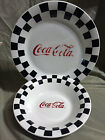 1996 Gibson Coca Cola Dinner Plate and Bowl Black Checkered