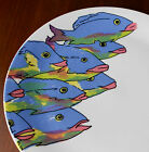 Homer Laughlin China Plate Vintage Fish Platter  Made in USA Blue Purple Pink