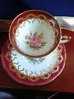 Aynsley Rose Center Red Gold Gilt Tea Cup and Saucer 1950s Excellent