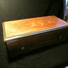 Antique Old Music Box Wood Inlaid Case 8 Songs 19th Century 8 Airs Lever