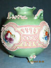 Antique Moriage Green Round Footed Handled Vase Applied Slip Design Hand Painted