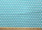 SNUGGLE FLANNEL WHITE STARS on AQUA BLUE 100 Cotton NEW BTY