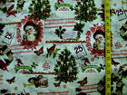 VINTAGE CHRISTMAS OLD SANTA PRINT 100% COTTON FABRIC  20X43 INCHES