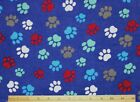 SNUGGLE FLANNEL MULTI COLOR DOG PAWS on DARK BLUE  Cotton FabricNEW 1 Yd 24