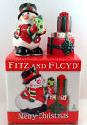 Snowman Present Fitz and Floyd Christmas Salt and  Pepper Set Merry Christmas