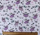SNUGGLE FLANNEL FAIRY GIRLS  PINK  LAVENDER on WHITE 100 Cotton Fabric BTY