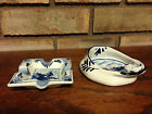 VINTAGE PAIR OF DELFTS BLUE HAND PAINTED ART POTTERY ASHTRAYS HOLLAND WINDMILL