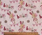 SNUGGLE FLANNEL BABY RAG DOLL BUNNIES  WHITE PINK100 Cotton Fabric NEW BTY