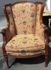 Gorgeous Vintage French Provincial Wingback Ornate Carved Arm Chair Minty!