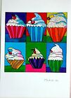 Wayne Thiebaud - Ink and pastel drawing (Picasso era) - Cakes