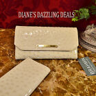 Brahmin NEW Bone Glossy Ostrich Emb leather Checkbook Wallet SPECTACULAR Clutch